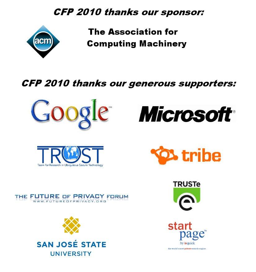 Logos of CFP 2010 sponsor and all supporters